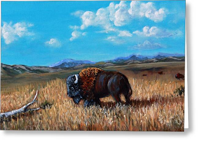 Buffalo Extinction Greeting Cards - Edge of the Herd Greeting Card by Julie Townsend