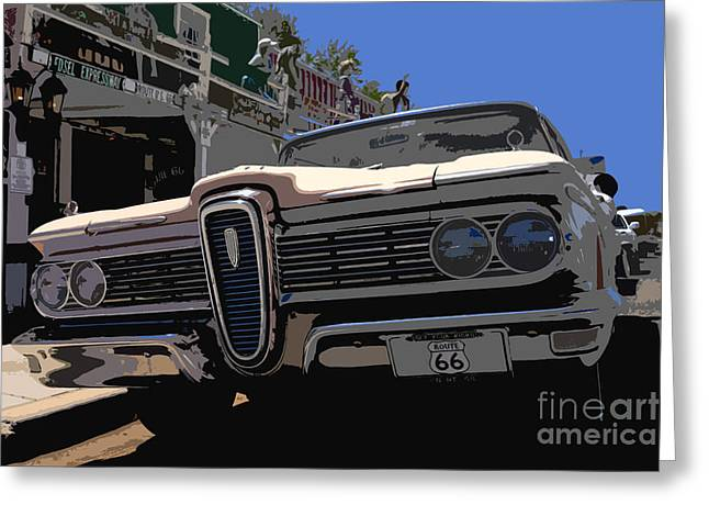 Antic Car Greeting Cards - Edsel on route 66 Greeting Card by David Lee Thompson