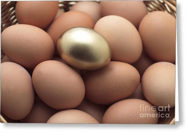 Golden Egg Greeting Cards - Eggs In Basket With A Golden One Greeting Card by Gerard Lacz