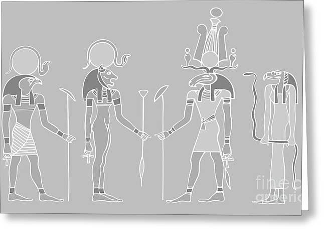 Pharaoh Greeting Cards - Egyptian gods and goddess Greeting Card by Michal Boubin