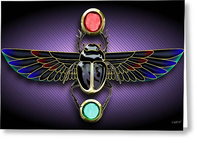 Ancient Jewelry Greeting Cards - Egyptian Scarab Beetle Greeting Card by John Wills