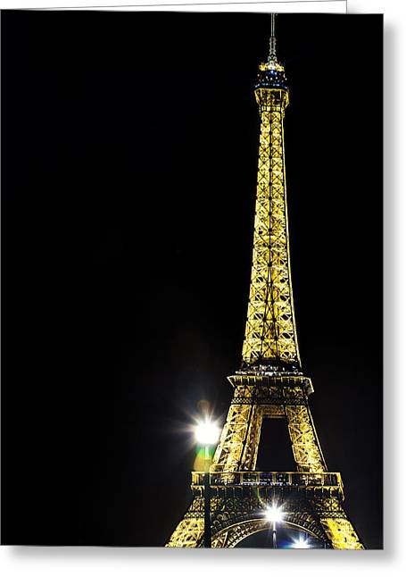 Eiffel At Night Greeting Card by Andrew Soundarajan