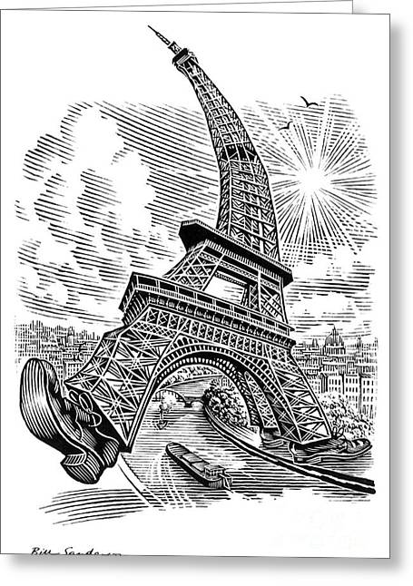 Animate Object Greeting Cards - Eiffel Tower, Conceptual Artwork Greeting Card by Bill Sanderson