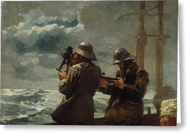 At Sea Greeting Cards - Eight Bells Greeting Card by Winslow Homer
