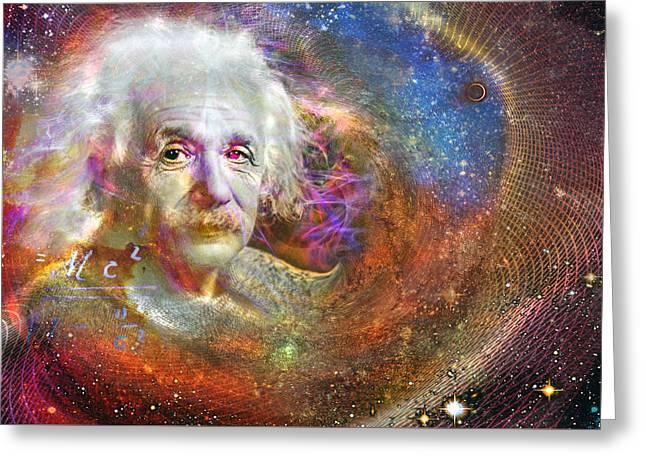 Quantum Mechanics Greeting Cards - Einstein Greeting Card by Mal Bray