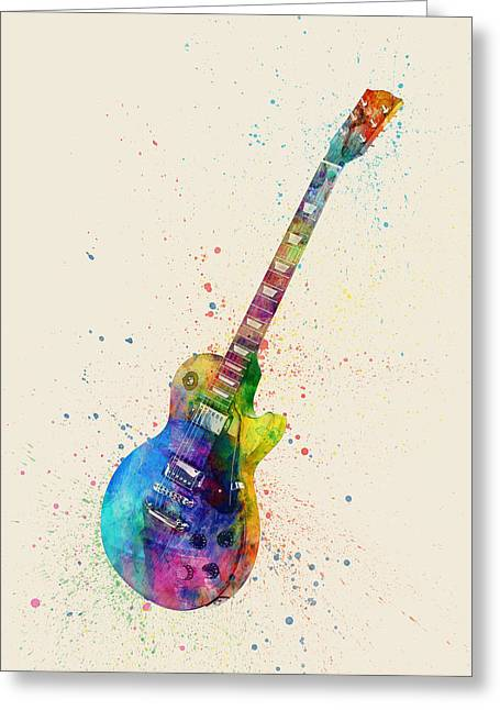 String Art Greeting Cards - Electric Guitar Abstract Watercolor Greeting Card by Michael Tompsett