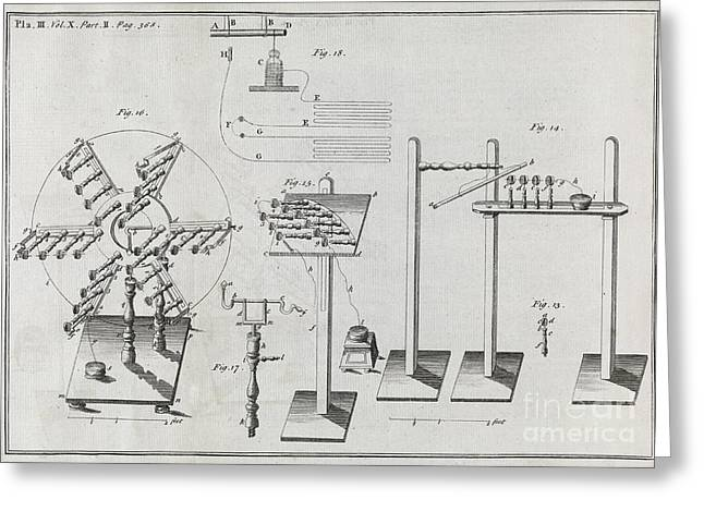Philosophical Transactions Greeting Cards - Electrical Machines, 18th Century Greeting Card by Middle Temple Library