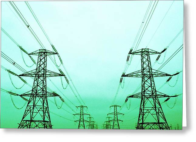 Electrical Wiring Greeting Cards - Electricity Pylons Greeting Card by Kevin Curtis