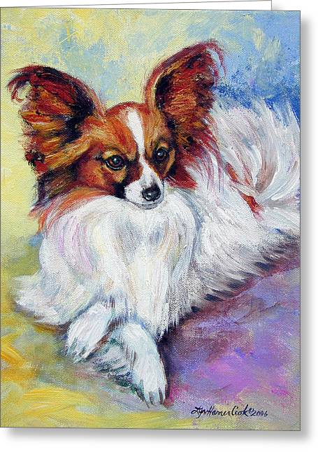 Papillon Dog Greeting Cards - Elegance - Papillon Dog Greeting Card by Lyn Cook