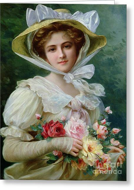 Red Petals Greeting Cards - Elegant lady with a bouquet of roses Greeting Card by Emile Vernon