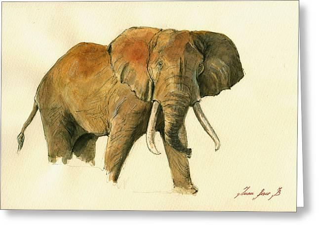 Elephant Art Greeting Cards - Elephant painting        Greeting Card by Juan  Bosco