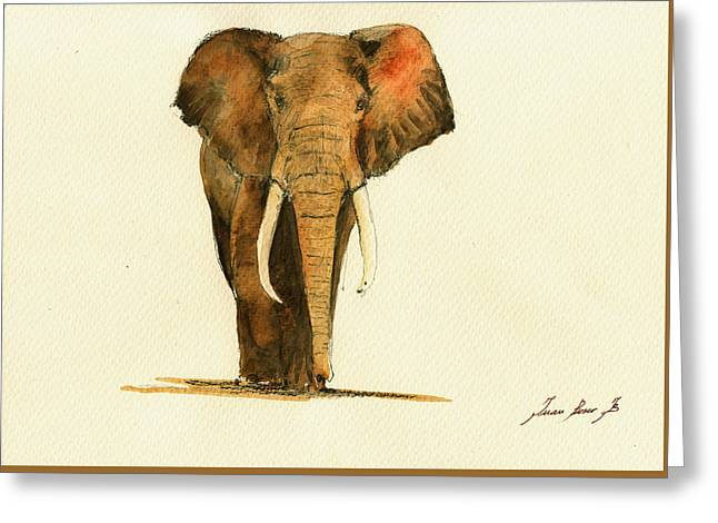 Elephant Watercolor Greeting Card by Juan  Bosco