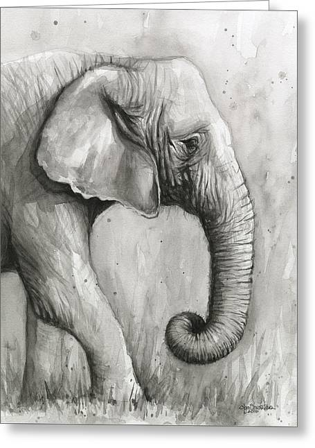 Elephant Watercolor Greeting Card by Olga Shvartsur