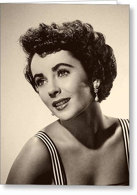 1950s Tv Greeting Cards - Elizabeth Taylor 1950 Greeting Card by Mountain Dreams