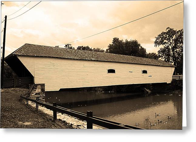 Usa Photographs Greeting Cards - Elizabethton TN - Covered Bridge 2008 Greeting Card by Frank Romeo
