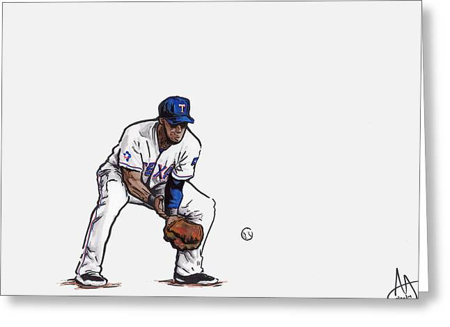Mlb Drawings Greeting Cards - Elvis Andrus Greeting Card by Joshua Sooter