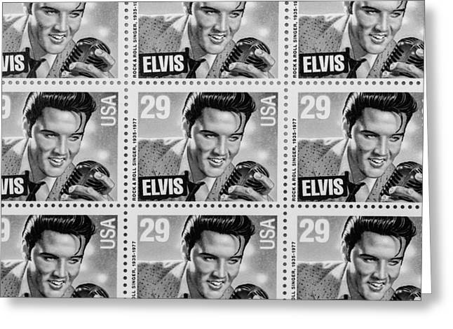 Postal Greeting Cards - Elvis Commemorative Stamp January 8th 1993 Painted BW Greeting Card by Rich Franco