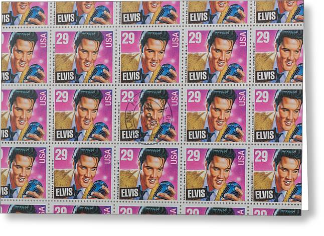 January 8th Greeting Cards - Elvis Commemorative Stamp January 8th 1993 Painted Greeting Card by Rich Franco