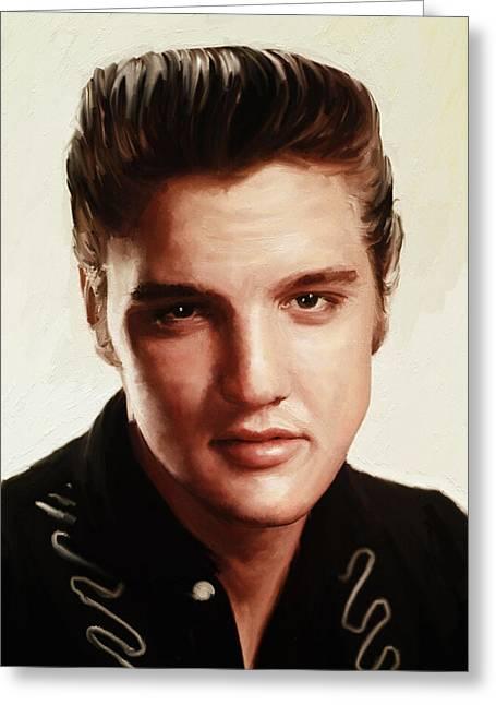 The King Of Pop Digital Art Greeting Cards - Elvis Presley Greeting Card by Blackzneo
