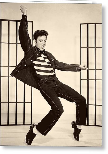 Recently Sold -  - 1950s Portraits Greeting Cards - Elvis Presley in Jailhouse Rock 1957 Greeting Card by Mgm