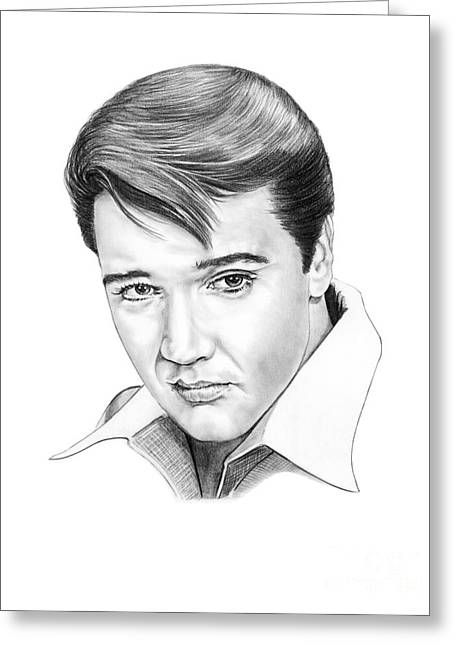 Famous Person Portrait Greeting Cards - Elvis Presley  Greeting Card by Murphy Elliott