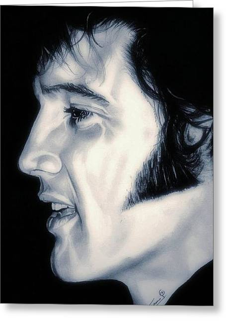Love Me Tender Greeting Cards - Elvis Presley  The King Greeting Card by Fred Larucci