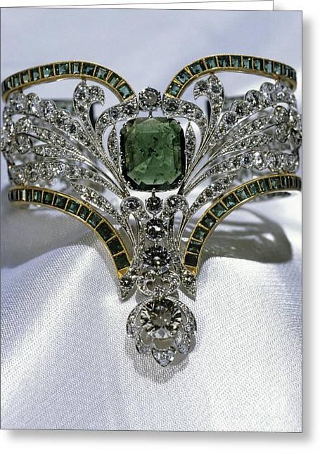 Diamond Bracelet Photographs Greeting Cards - Emerald And Diamond Bracelet Greeting Card by RIA Novosti