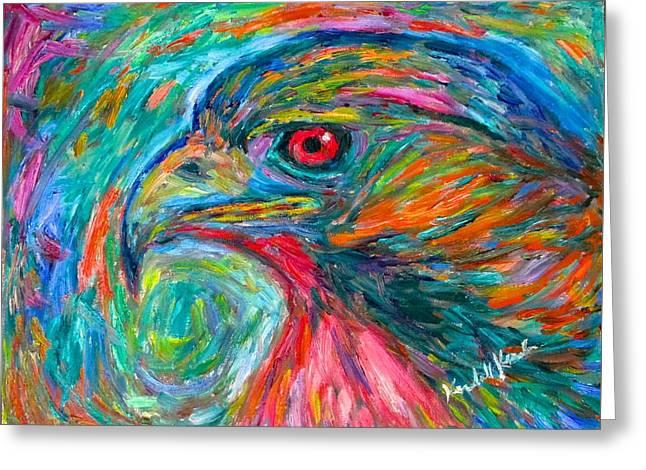 Emerging Hawk Greeting Card by Kendall Kessler