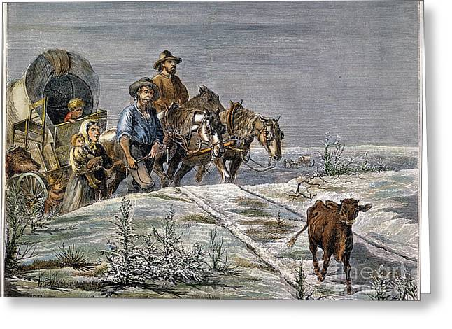 Westward Expansion Greeting Cards - Emigrants, 1874 Greeting Card by Granger
