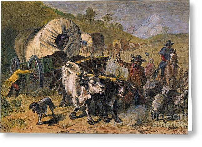 Westward Expansion Greeting Cards - EMIGRANTS TO WEST, 19th C Greeting Card by Granger