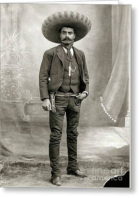 Mexican Fighters Greeting Cards - Emiliano Zapata Greeting Card by Pg Reproductions