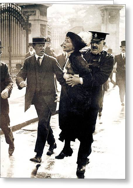 Women Suffrage Greeting Cards - Emmeline Pankhurst Greeting Card by Granger