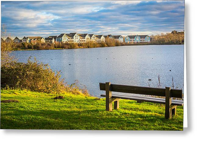Lake House Greeting Cards - Empty Bench Greeting Card by Gary Gillette