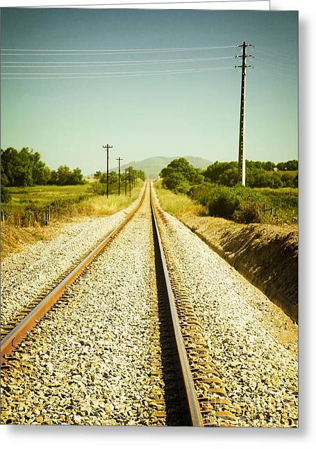 Abandoned Train Greeting Cards - Empty Railway Greeting Card by Carlos Caetano