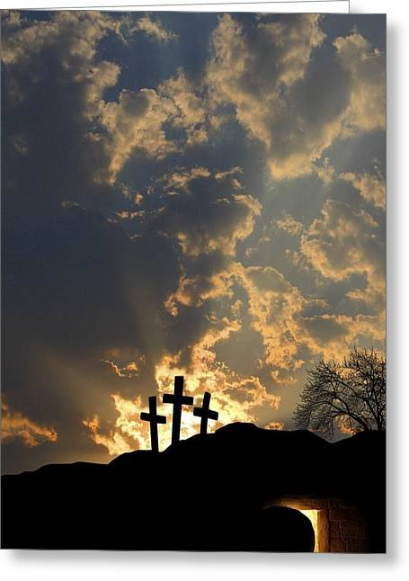 Caves Greeting Cards - Empty Tomb And Three Crosses Greeting Card by Colette Scharf