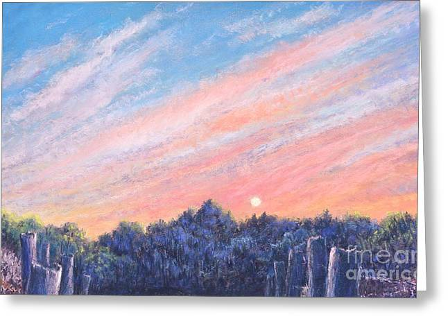 Sunset Greeting Cards Pastels Greeting Cards - enchanced Catching the Sunset  Greeting Card by Penny Neimiller