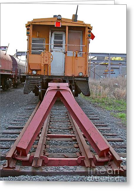 Caboose Greeting Cards - End Of The Line Greeting Card by Rick  Monyahan
