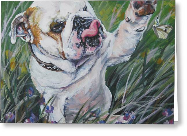 English Bulldog Portrait Greeting Cards - English Bulldog Greeting Card by Lee Ann Shepard