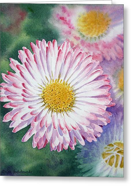 Hyper Greeting Cards - English Daisies Greeting Card by Irina Sztukowski
