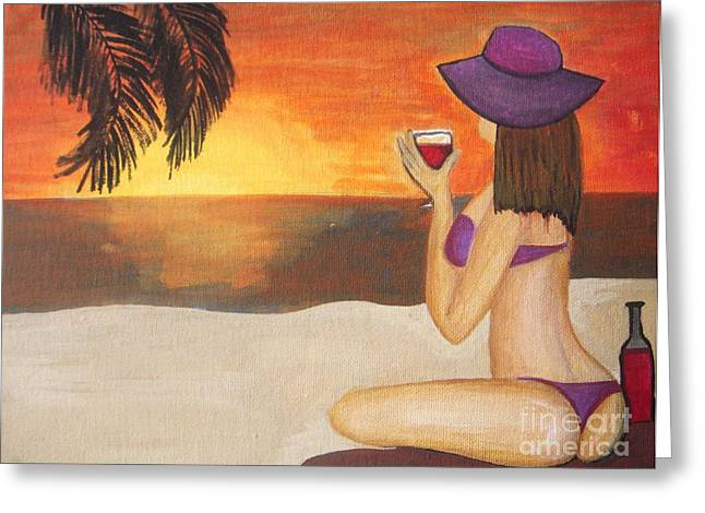 Jamaican Sunset Greeting Cards - Enjoy the beach Greeting Card by Vesna Antic