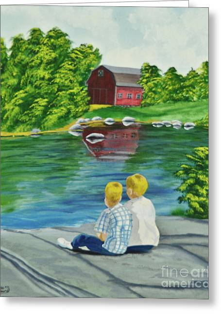 New England Farm Scene Greeting Cards - Enjoying A Country Day Greeting Card by Charlotte Blanchard