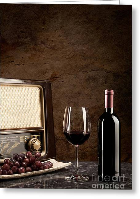 Red Wine Greeting Cards - Enjoying wine and listening to the radio Greeting Card by Wolfgang Steiner