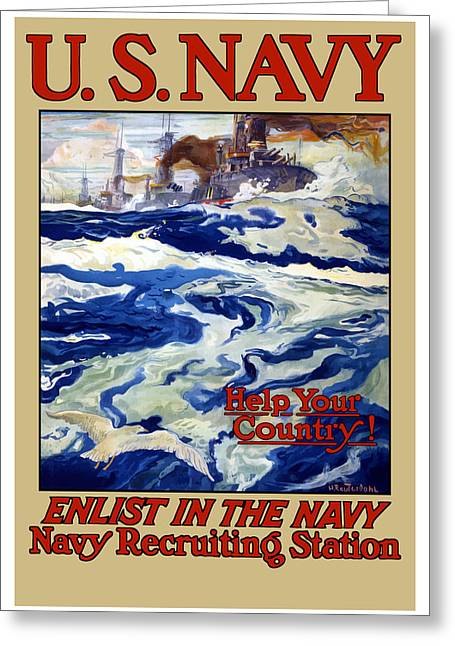 Recruiting Greeting Cards - Enlist In The Navy Greeting Card by War Is Hell Store