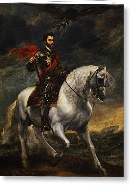 Equestrian Portrait Of The Emperor Charles V Greeting Card by Anthony van Dyck