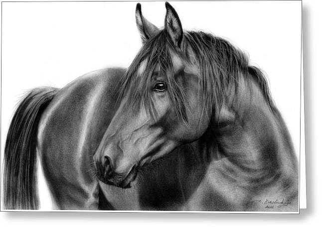 Hyperrealistic Greeting Cards - Equine Art Greeting Card by Danguole Serstinskaja