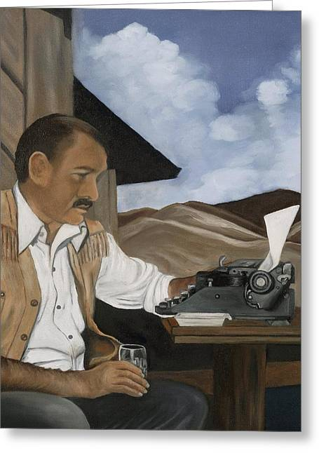 Typewriter Paintings Greeting Cards - Ernest Hemingway Greeting Card by Caroline  Stuhr