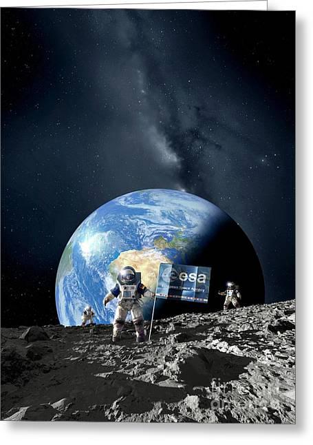 Man On The Moon Greeting Cards - Esa Lunar Exploration, Artwork Greeting Card by Detlev van Ravenswaay