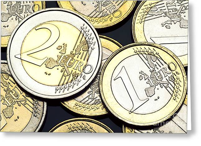 Coins Greeting Cards - Euro Coins Greeting Card by Martyn F. Chillmaid