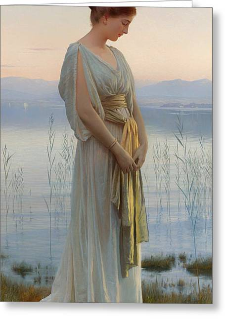Lady In Lake Greeting Cards - Evening By The Lake Greeting Card by Max Nonnenbruch