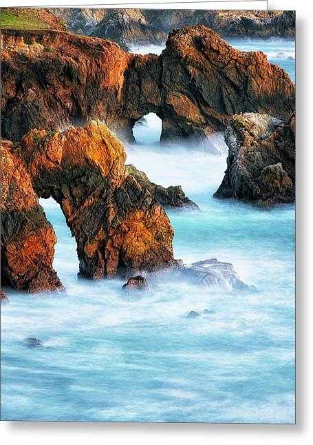 Evening Glow On California's Rugged Big Sur Coastline. Greeting Card by Larry Geddis